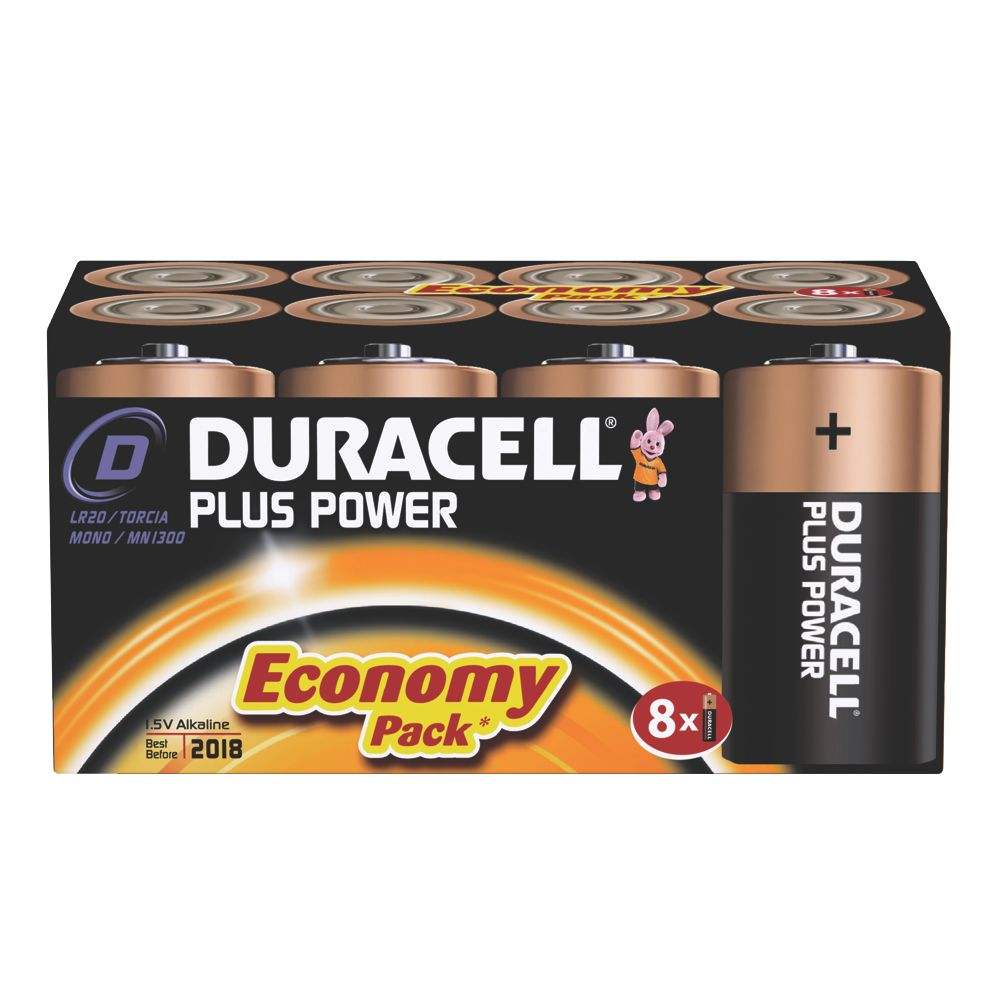 Duracell Alkaline D Batteries Pack of 8