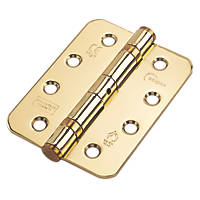 Eclipse Ball Bearing Fire Hinges Radius Corners Electro Brass  102 x 76mm 2 Pack