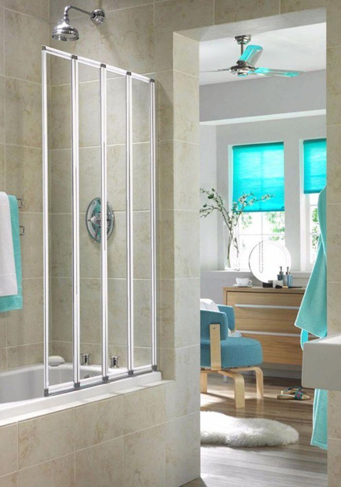 Aqualux Folding Bath Screen White / Clear 840 x 1400mm