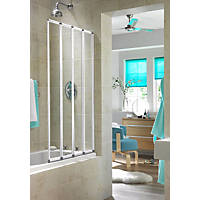 Aqualux Folding Bath Screen White/Clear 840 x 1400mm