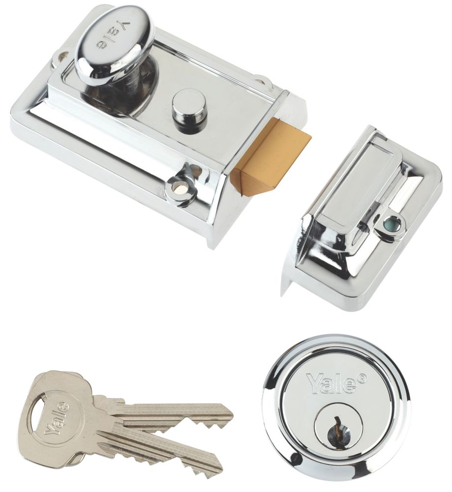 Yale Traditional Night Latch Chrome-Plated 60mm Backset