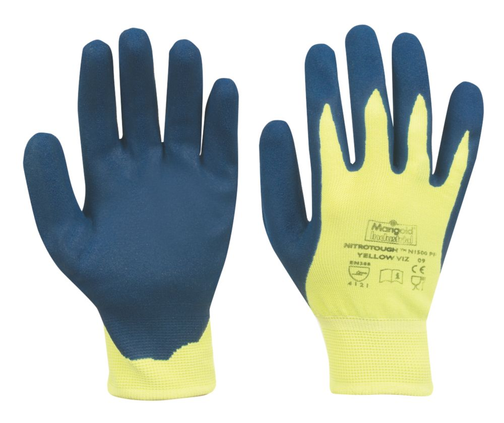 Marigold Nitrotough N1500 Nitrile-Dipped Gloves Blue/Yellow Large