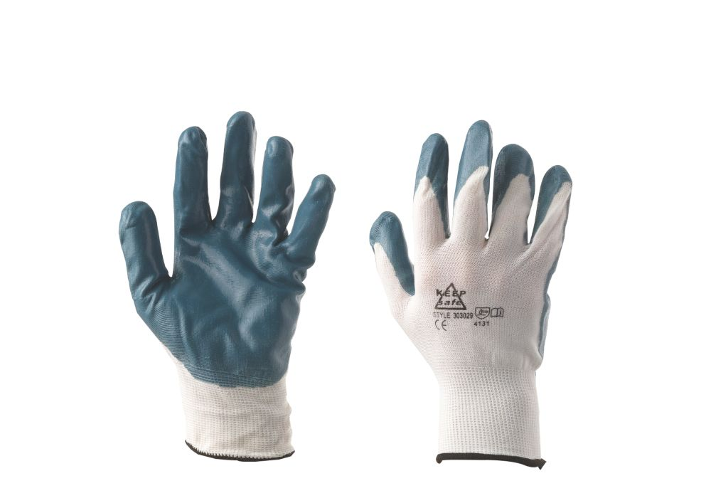 Keep Safe Secure Handling Nitrile-Coated Knitted Gloves Blue Medium