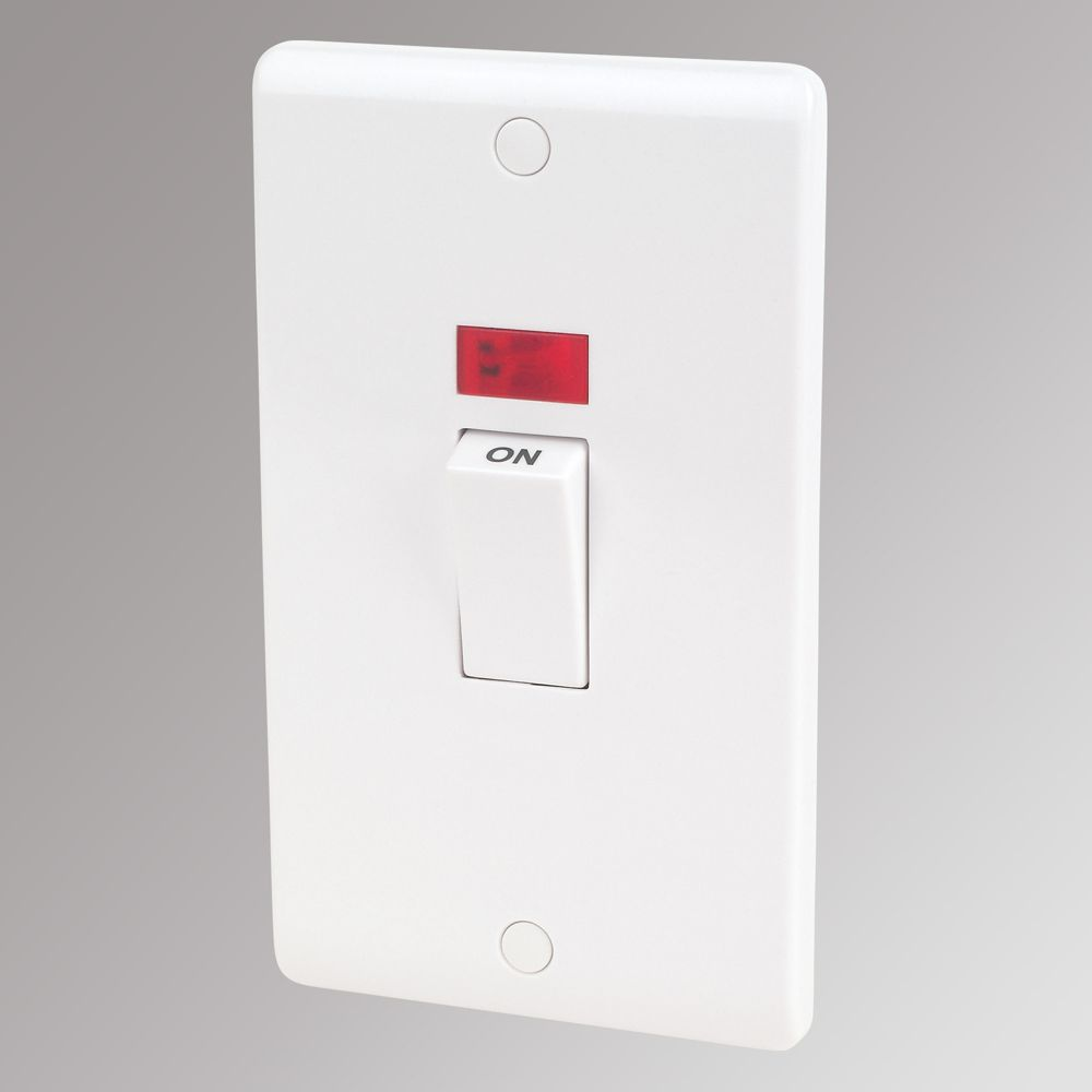 LAP 2-Gang 45A DP Cooker Switch with Neon White
