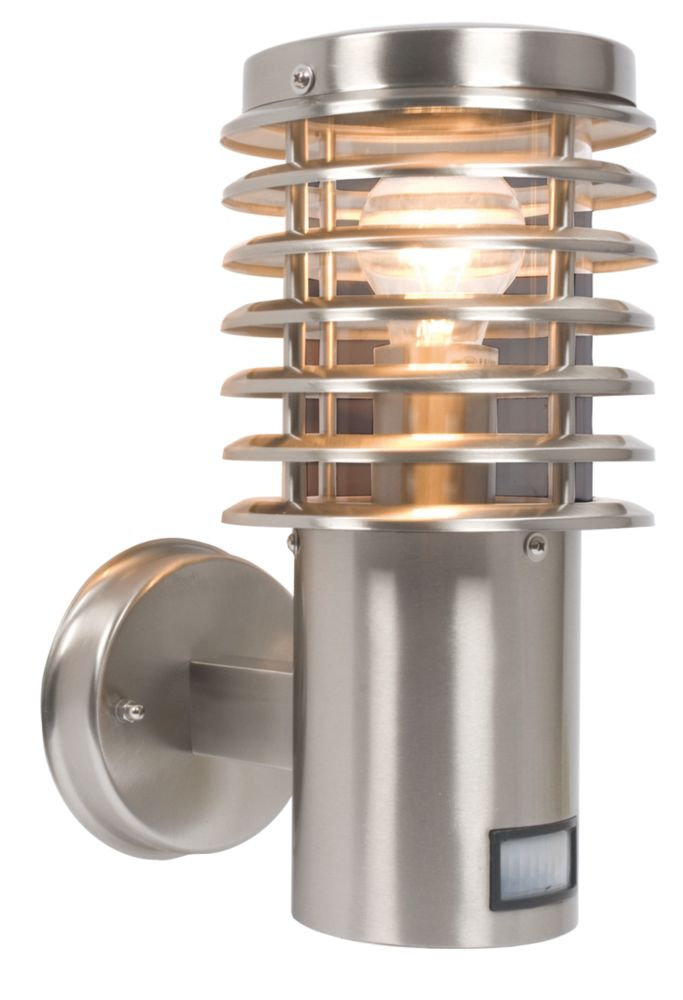 Clipper Brushed Stainless Steel Wall Light with PIR Sensor