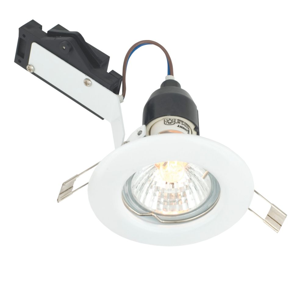 LAP Fixed Round Mains Voltage Downlight Gloss White 240V