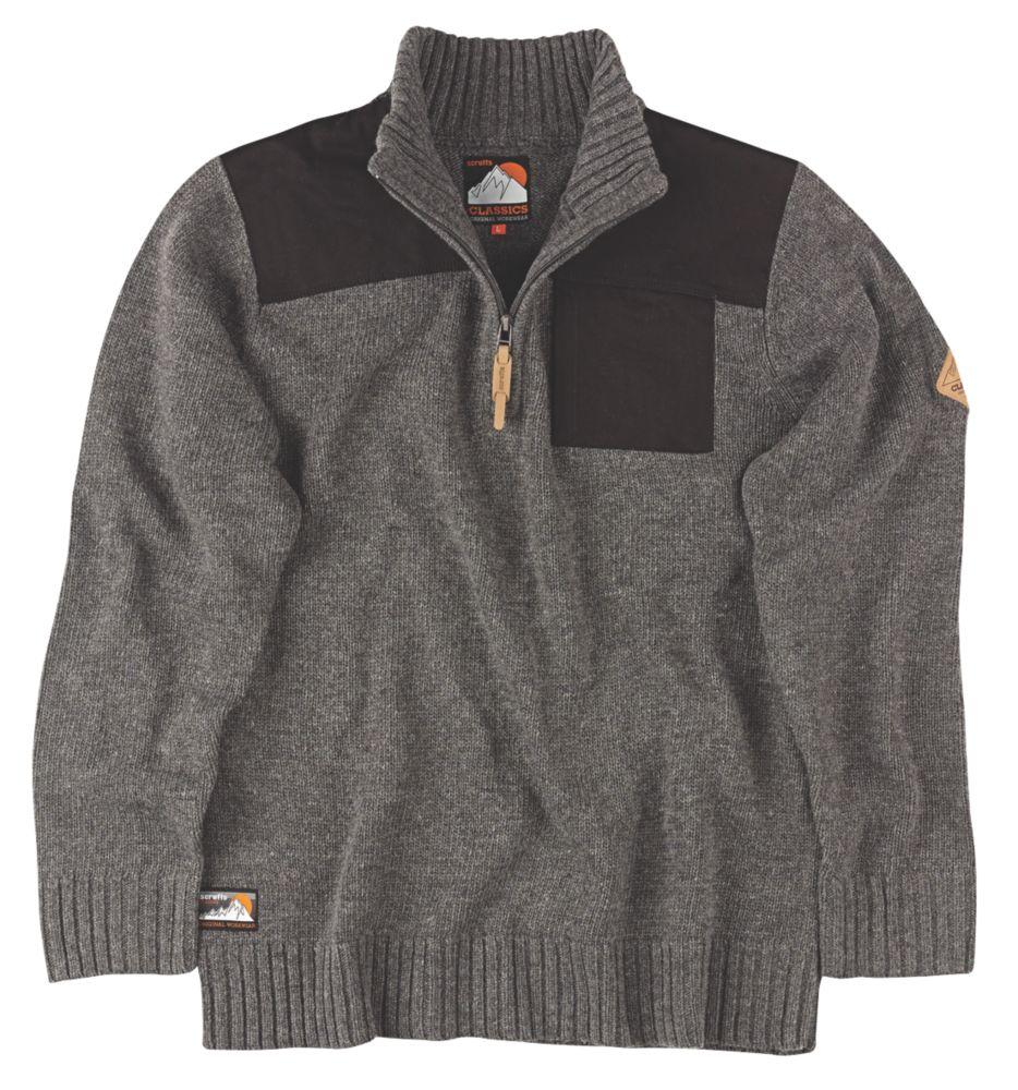 """Scruffs Half-Zip Knit Jumper Charcoal Marl Large 45"""" Chest"""