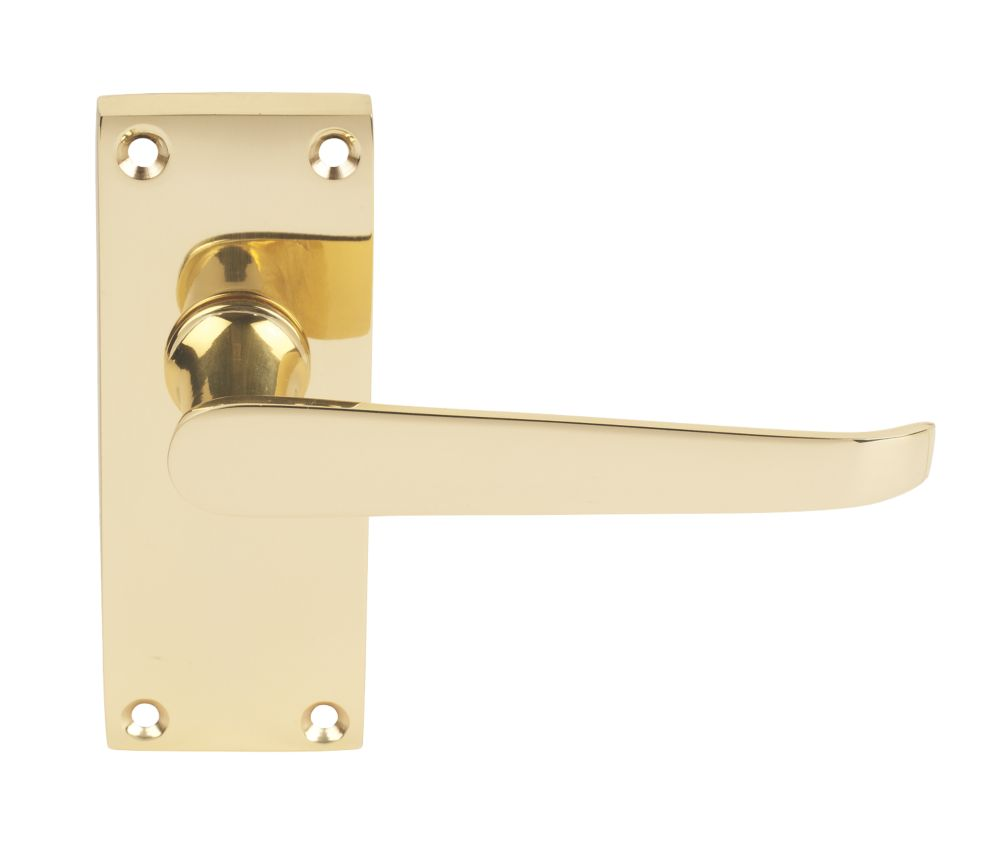 Victorian Short Backplate Straight Door Handle Pack Brass Effect