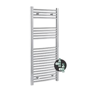 Kudox Curved Chrome Towel Rail plus Valves 1100 x 500mm