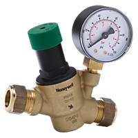 "Honeywell 15mm x ½"" Pressure Reducing Valve with Gauge"