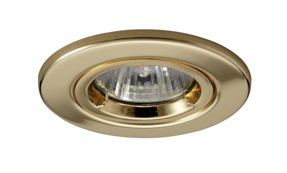 JCC Fireguard Fixed Fire Rated Recessed Downlight Polished Brass 240V