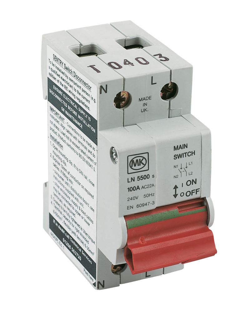 Mk Sentry 100A DP Incomer Main Switch Isolator