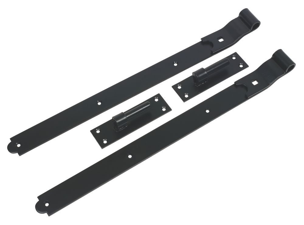Gate Hinge Cranked Pair Black 610mm