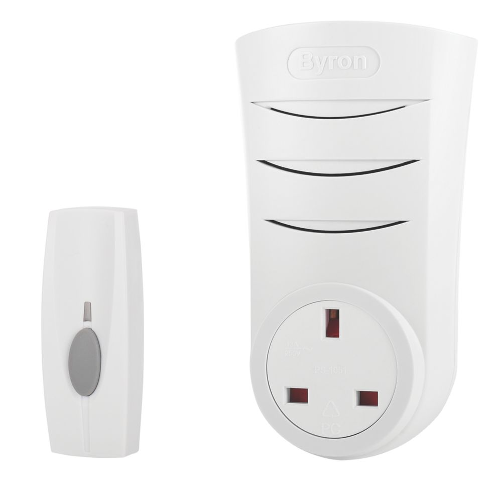 Wireless 60m Plug Through Door Chime with Li-Ion Powered Bell Push White