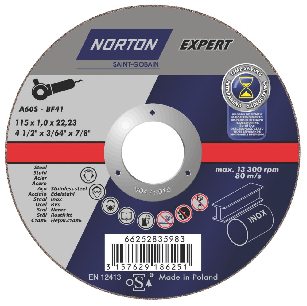 Norton Thin Cutting Disc 115 x 1 x 22.3mm Pack of 5