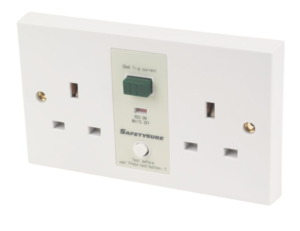 SafetySure 13A 2-Gang RCD Unswitched Plug Socket White