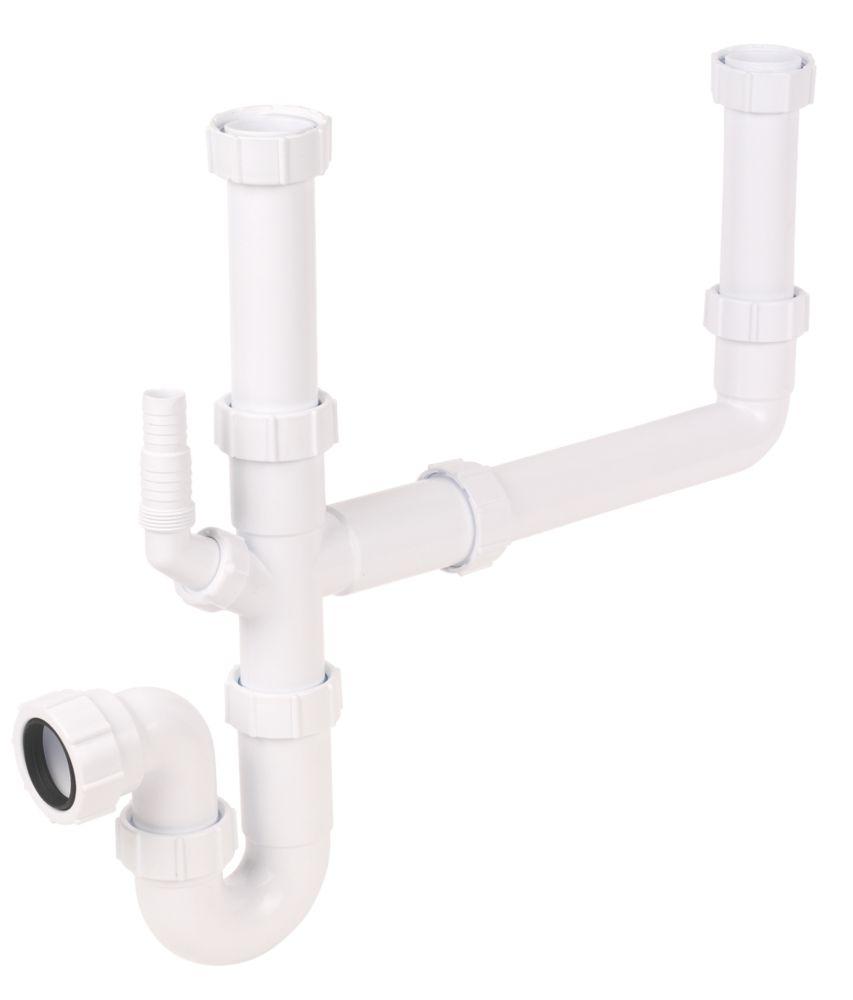 FloPlast Double Bowl Sink Trap Kit 40mm White