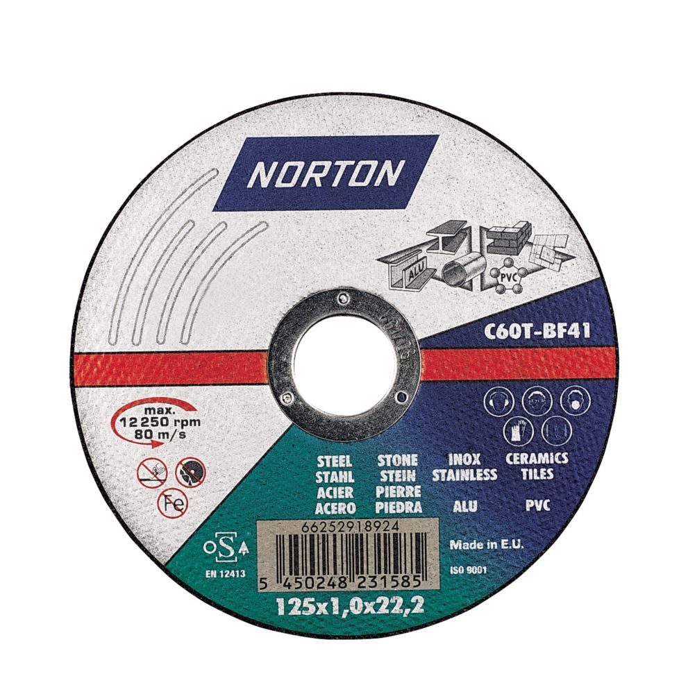 Norton Multipurpose Discs 125 x 1 x 22mm Pack of 5