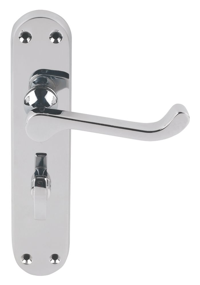 Jedo Abbey Lever on Backplate WC Door Handles Pair Polished Chrome