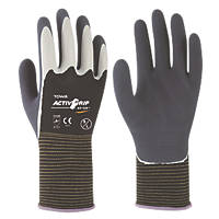 Towa ActivGrip XA-324 Latex-Coated Finger Gloves Grey / Black X Large