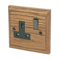 Varilight 13A DP 1-Gang Switched Socket Medium Oak