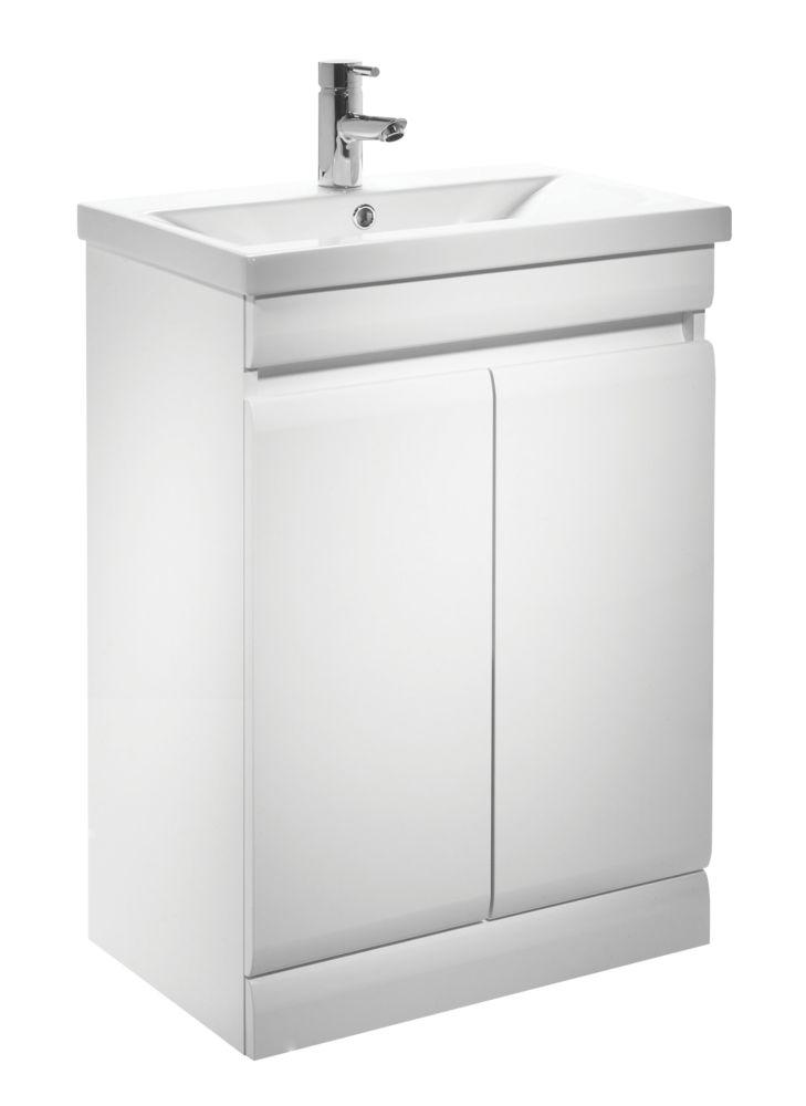 Tavistock Groove Bathroom Basin Unit White 590mm