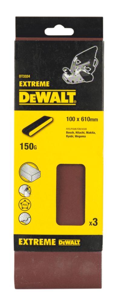 DeWalt 100 x 610mm 150 Grit Sanding Belts Pack of 3