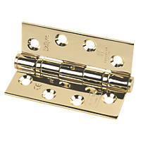 Eclipse Fire Door Hinge Electro Brass Stainless Steel 102 x 76mm 3 Pack