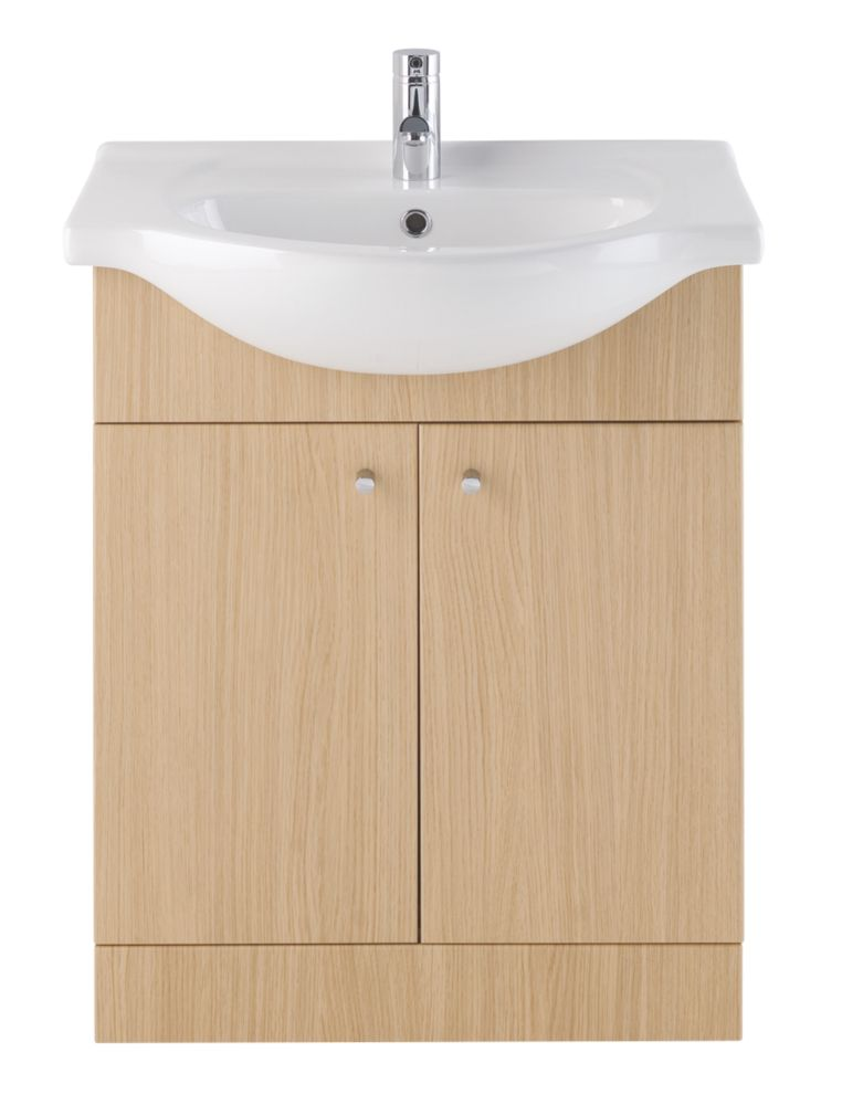 Vanity Bathroom Basin Unit Natural Oak 650mm