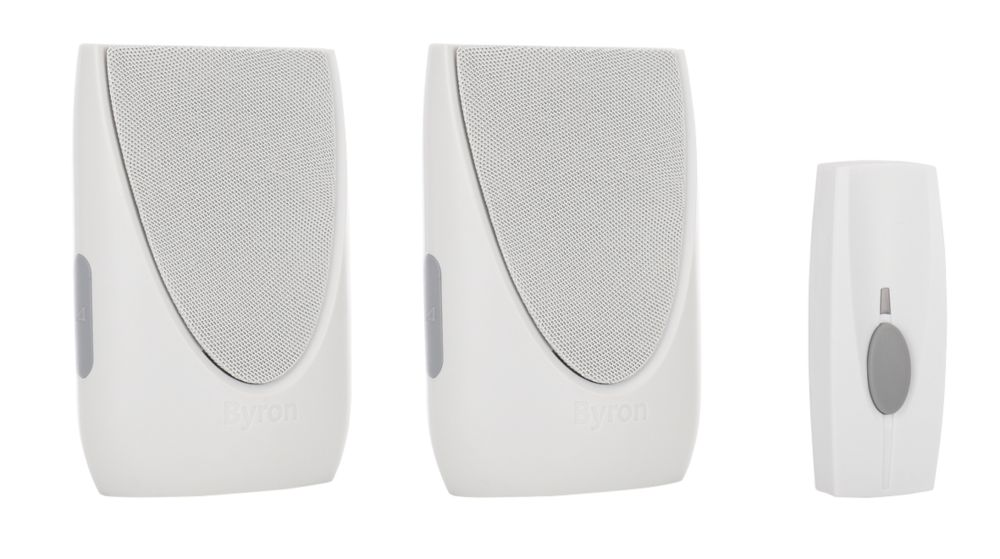 Wireless 100m Portable & Plug-in Chime with Li-Ion Bell Push White