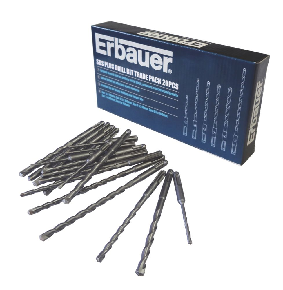 Erbauer SDS Plus Drill Bit Bulk Pack 20Pcs
