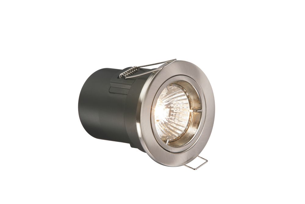 Fixed Brushed Chrome Low Voltage Fire Rated Downlight 12V