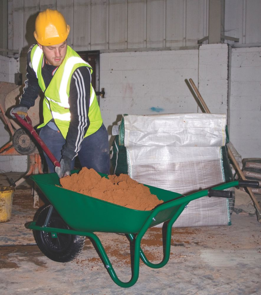 Walsall Easiload Builders Pneumatic Wheelbarrow Green 85Ltr