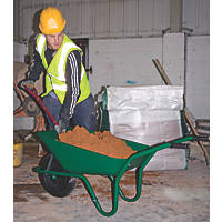 Walsall Easiload Pneumatic Builders Wheelbarrow Green 85Ltr