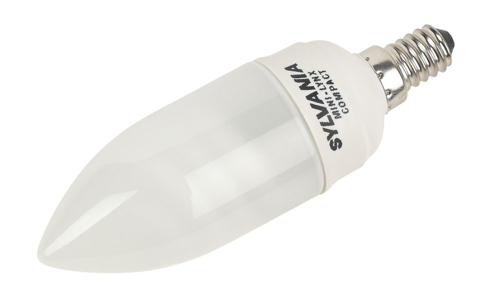 Sylvania Mini Lynx Candle Compact Fluorescent Lamp SES 405Lm 9W