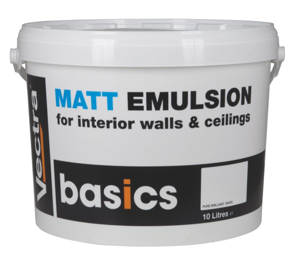 Vectra Basics Matt Emulsion Paint Pure Brilliant White 10Ltr