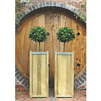 Forest Square Planter Natural Wood 400 x 400 x 1000mm 2 Pack