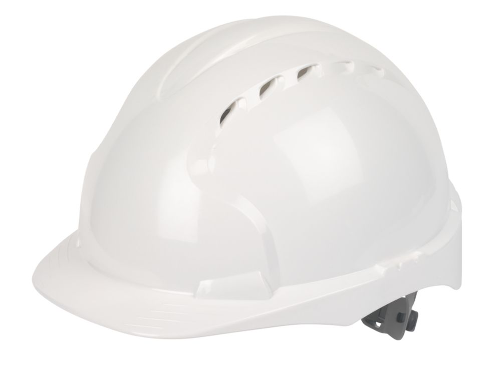 JSP EVO 2 Mid Peak Slip-Ratchet Vented Safety Helmet White