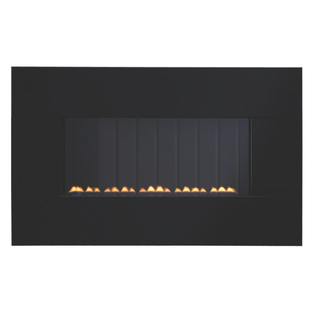 Focal Point Piano Flueless Gas Fire Black Glass 2.6kW