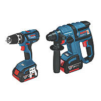 Bosch GBH18V-EC / GSB18-2LI 18V 3.0Ah Li-Ion Twin Pack SDS Plus & Combi Drill