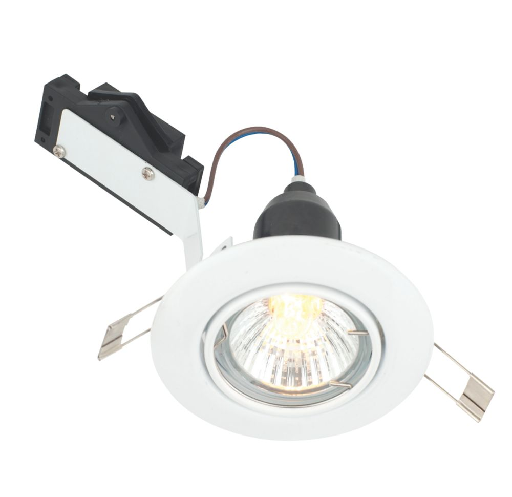 LAP Adjustable Round Mains Voltage Downlight Gloss White 240V