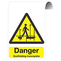 """""""Danger Scaffolding Incomplete"""" Sign 500 x 300mm"""