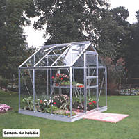 Halls Popular Framed Greenhouse Aluminium 6' x 6'