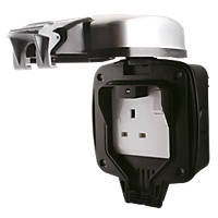 BG Single Outdoor Socket Brushed Steel Finish 13A