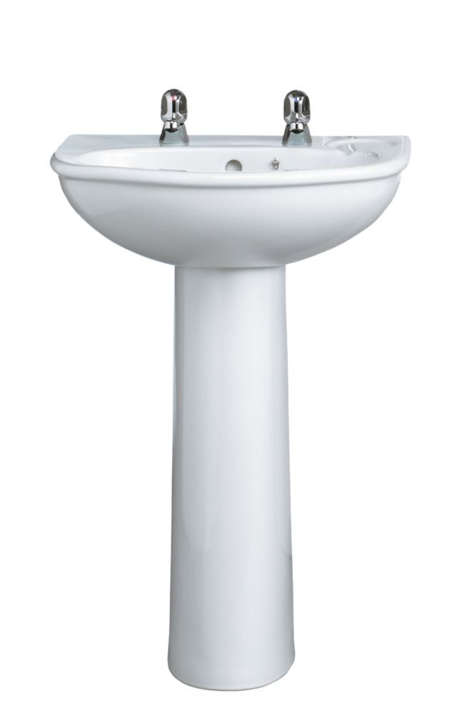 Armitage Shanks Sandringham Full Pedestal Bathroom Basin 2 Tap Hole 560mm