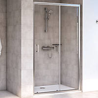 Aqualux Shine 6 Sliding Shower Door Polished Silver 1400 x 1900mm