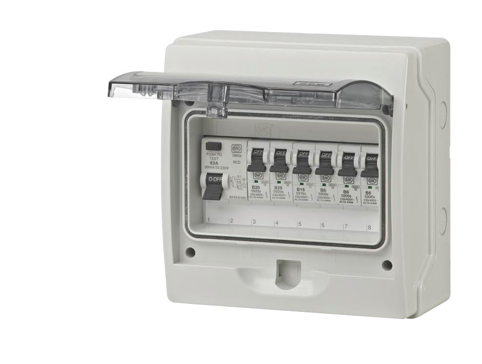 MK 6-Way 8-Module RCD Garage Consumer Unit with 6 MCBs