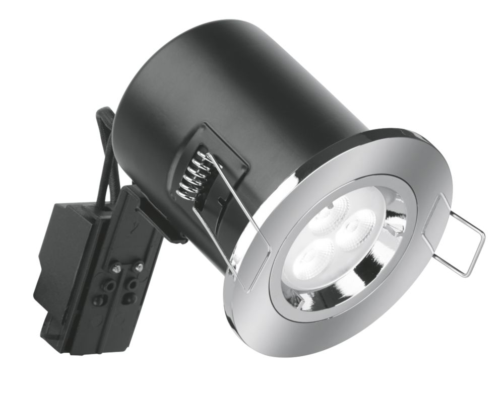 Aurora Compact Fixed Round Fire Rated LED Downlight Polished Chrome 240V