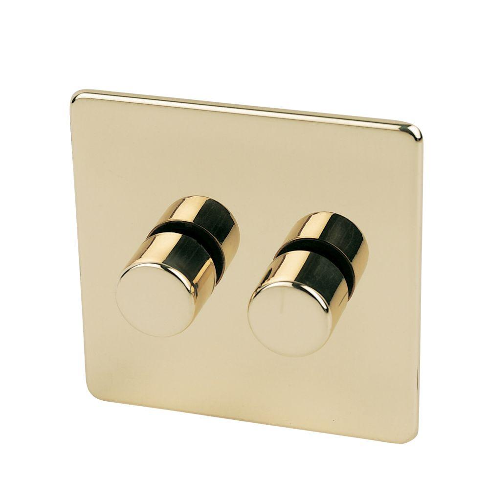 Crabtree 2-Gang 2-Way 250W Dimmer Polished Brass Flat Plt