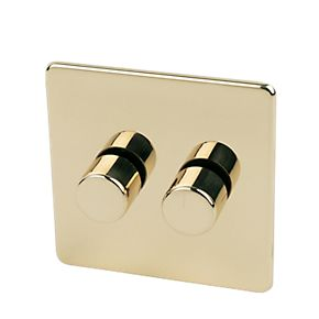 Crabtree 2G 2W 250W Dimmer Polished Brass Flat Plt